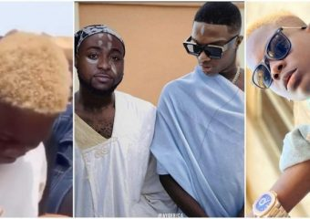 Tears of joy as Davido gifts boy who edited viral photo of him and Wizkid with N1 million